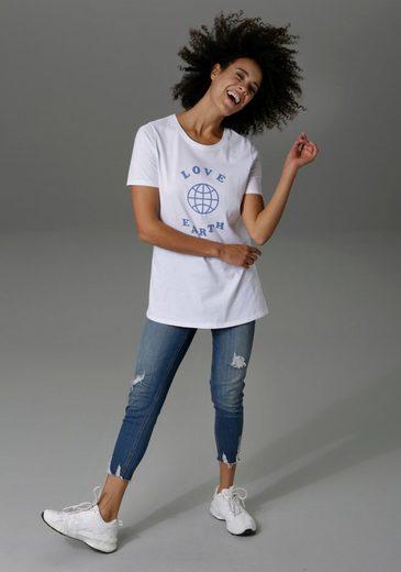 Aniston CASUAL T-Shirt mit Druck und Statement-Schriftzug