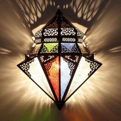 Casa Moro Wandleuchte »Marokkanische Wandlampe Jawhar 32x42 cm (Breite/Höhe) aus Eisen & Glas, Kunsthandwerk aus Marokko, Orientalische Wandleuchte wie aus 1001 Nacht, L1420«