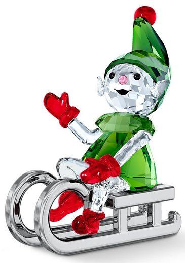 Swarovski Dekofigur »Santas Elfe mit Schlitten, 5533947« (1 Stück), Swarovski® Kristall mit schwarzem Emaille