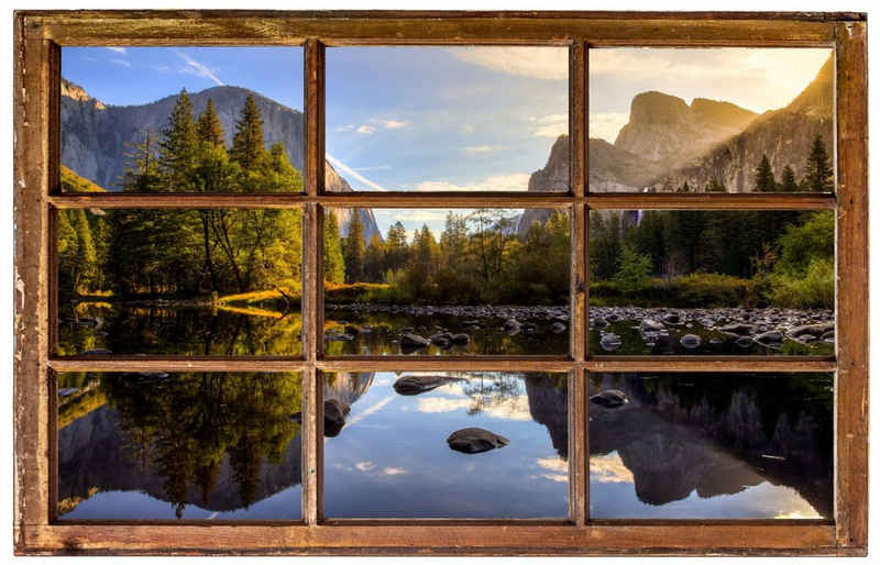 DesFoli Wandtattoo »Tal mit See Berge Natur Landschaft H0384«, in Holzfenster-Optik
