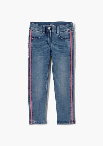 s.Oliver 5-Pocket-Jeans »Regular: Jeans mit Glitzertape« Waschung, Tape, Glitzer