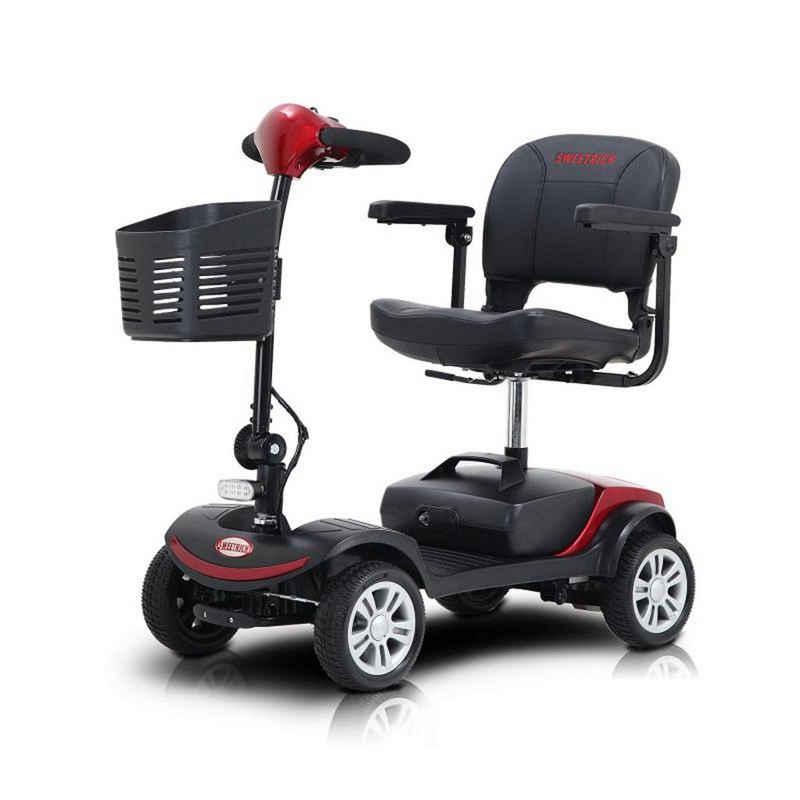 Masbekte Elektromobil, 300 W, 6,00 km/h, Elektroroller, Faltbare Pinne mit Aufbewahrungskorb, Kompakt für unterwegs, 4-Rad-Mobil für Erwachsene und Senioren