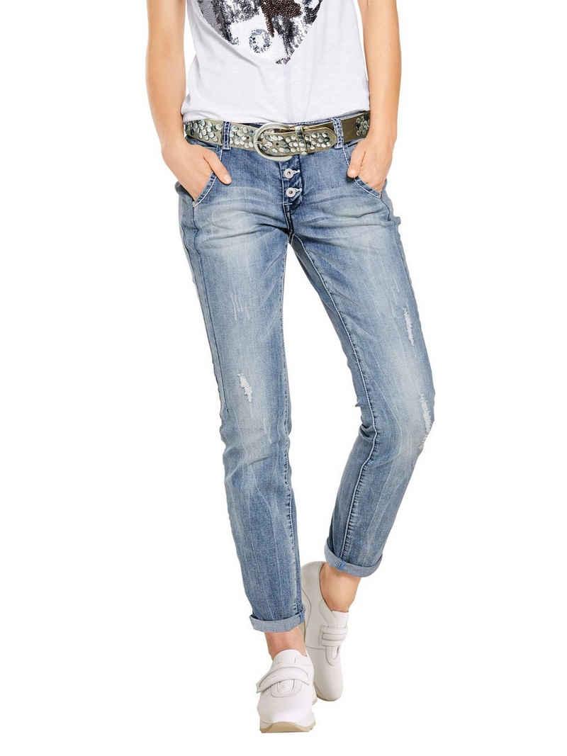 LINEA TESINI by Heine Boyfriend-Jeans mit Used-Effekt