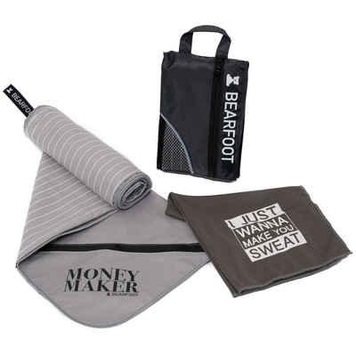 BEARFOOT Sporthandtuch »Mikrofaser Handtuch Set mit Tasche« (1-St), schnelltrocknende Microfaser Qualität, geeignet als Fitnesshandtuch, Badetuch, Strandhandtuch, Saunatuch, Reisehandtuch