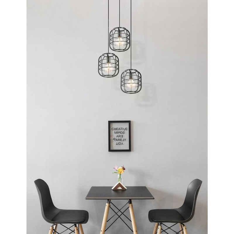home sweet home Pendelleuchte »Pendelleuchte NERO 3fach - 3 x E27 - schwarz - Industrie-Design«