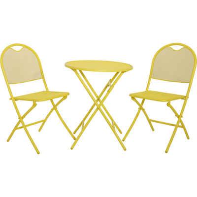 Lesli Living Gartenmöbelset »Balkonset Gartenmöbel Set gelb 2 Stühle 1 Tisch Metall«, (3-tlg)
