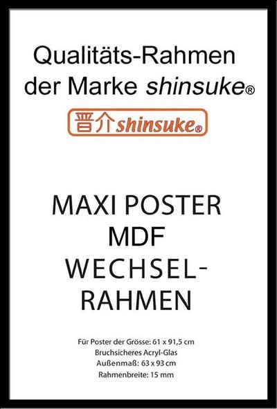 empireposter Rahmen »Wechselrahmen, Shinsuke® Maxi MDF mit Acryl-Scheibe für Poster der Grösse 61x91,5 cm«, Farbe: schwarz