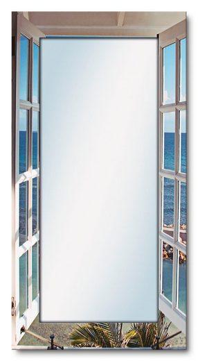 Artland Wandspiegel »Fenster zum Paradies«, gerahmter Ganzkörperspiegel mit Motivrahmen, geeignet für kleinen, schmalen Flur, Flurspiegel, Mirror Spiegel gerahmt zum Aufhängen