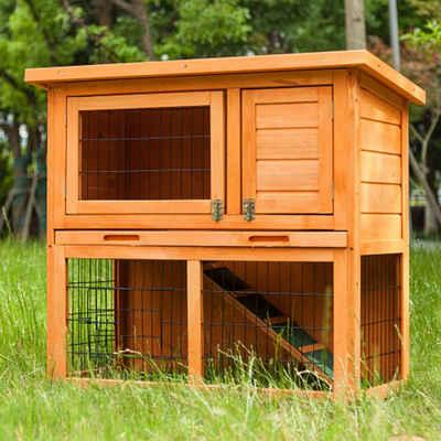 TOPMELON Kleintierkäfig »2-stöckiges Holzkaninchenhaus Käfig Hinterhof Garten Duplex Haus, geeignet für Kleintiere und Haustiere«, 96.00 * 52.00 * 21.00 cm