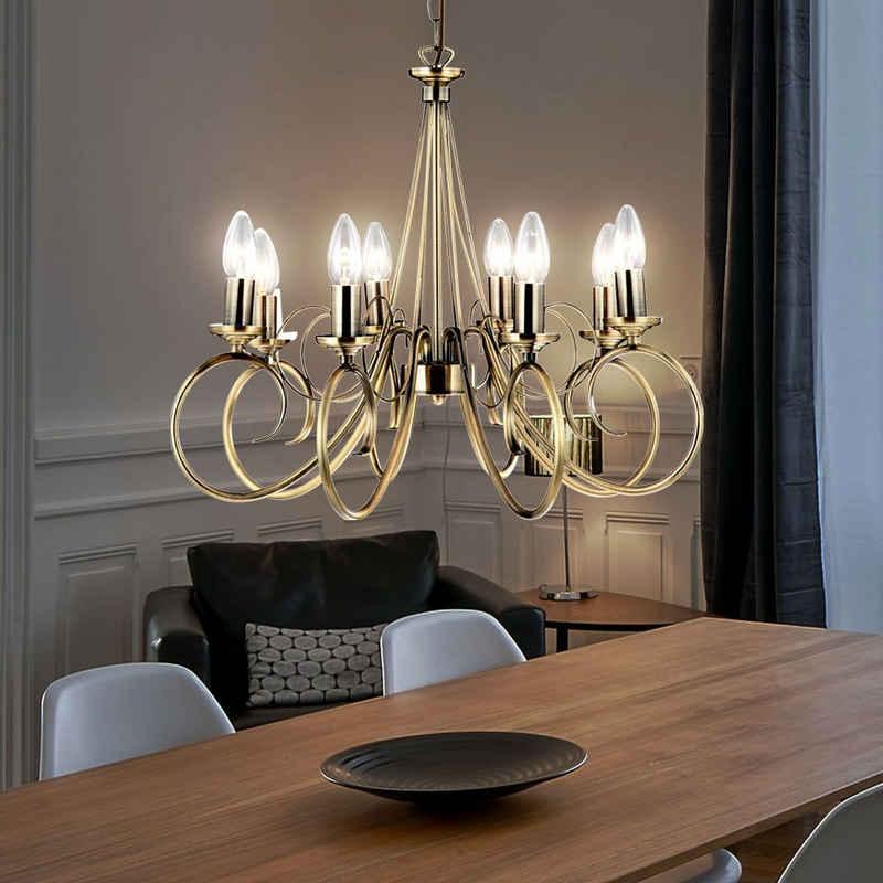 etc-shop Kronleuchter, Altmessing Kronleuchter Hänge Decken Lüster Wohn Ess Zimmer Beleuchtung Pendel Lampe