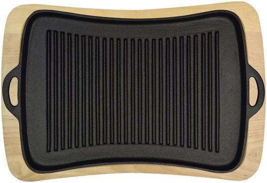 Jim Beam BBQ Grillplatte, Gusseisen, mit Holzuntersetzer, 40x43 cm