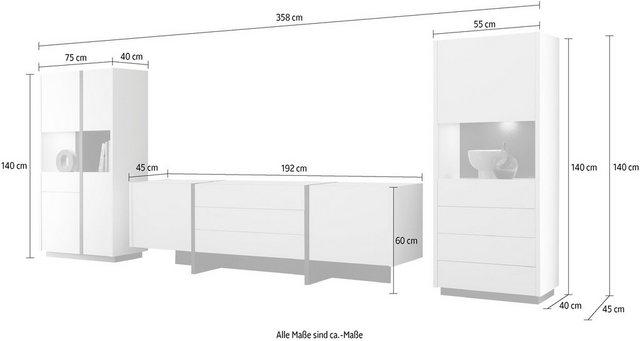 Wohnwände - INOSIGN Wohnwand »CAiO«, (Set, 3 St), Breite ca. 358 cm  - Onlineshop OTTO