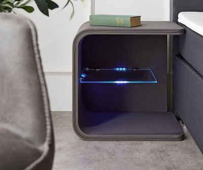 DELIFE Nachtkommode »Oscar«, Big Grau 50cm hoch mit LED Beleuchtung Nachttisch
