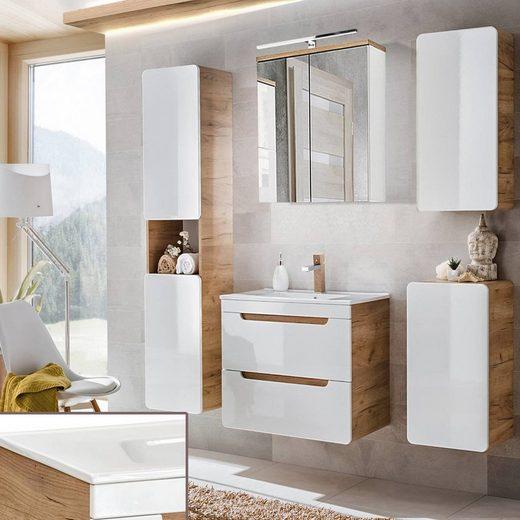 Lomadox Badmöbel-Set »LUTON-56«, (Spar-Set, 7-tlg), Möbel Hochglanz weiß inkl. 60cm Keramikwaschtisch, B/H/ T ca. 160/200/46 cm