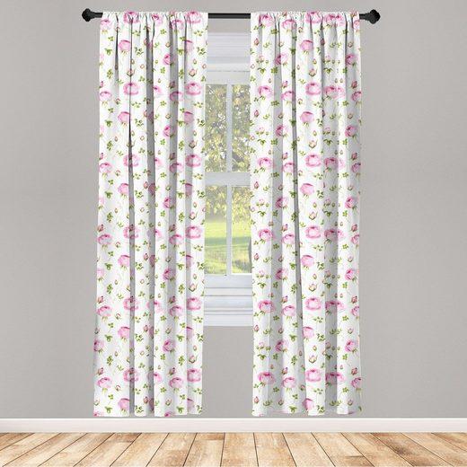 Gardine »Fensterbehandlungen 2 Panel Set für Wohnzimmer Schlafzimmer Dekor«, Abakuhaus, Blumen Blühende Rose-Weinlese
