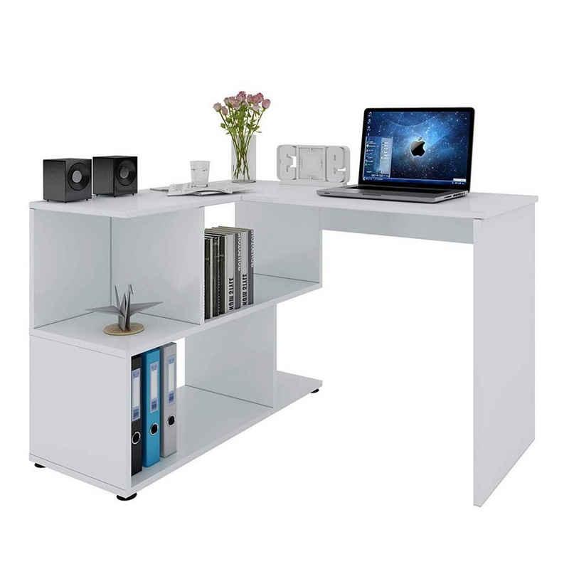 Woltu Schreibtisch »TS64ws«, Eckschreibtisch mit Ablagen in Weiß