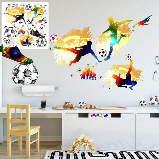 Sunnywall Wandtattoo »XXL Wandtattoo Fussball Set verschiedene Motive, Kinderzimmer Aufkleber bunt Wanddeko Fußball soccer Football«