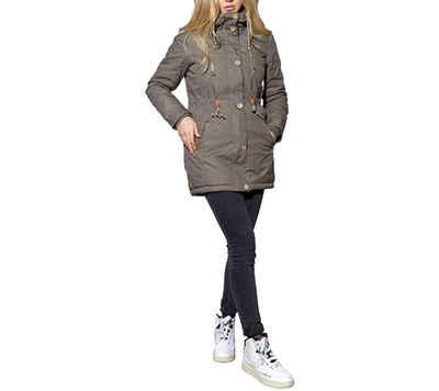 MAZINE Parka »MAZINE ERIN Kapuzen-Parka bequeme Damen Winter-Jacke mit Windstopper-Bündchen Outdoor-Jacke Grau«