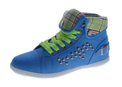 Magnus »Damen Freizeit Sneaker Mid Cut Knöchel Schuhe« Slip-On Sneaker umklappbarer Schaft, Nieten, Zierschnalle