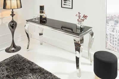 riess-ambiente Konsolentisch »MODERN BAROCK 140cm schwarz«, Tischplatte aus Opalglas · Edelstahl-Beine