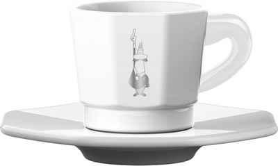 BIALETTI Espressotasse, Porzellan, 4 Tassen, 4 Untertassen