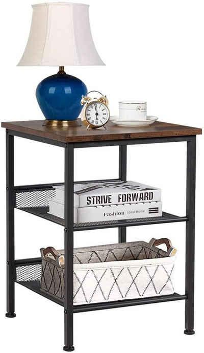COSTWAY Beistelltisch »Sofatisch Nachttisch 3 Etagen«, mit Gitterablage & Metallgestell, im Industriedesign