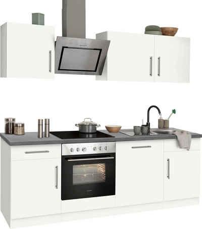 wiho Küchen Küchenzeile »Cali«, mit E-Geräten, Breite 220 cm mit Hanseatic E-Geräten, extra kurze Lieferzeit