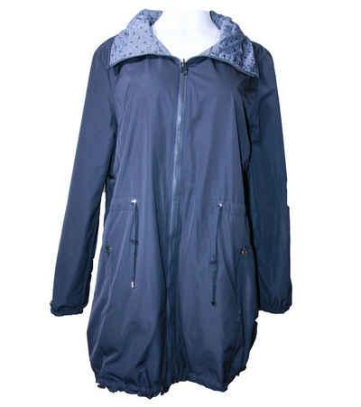 Wega Wendejacke »WEGA Wende-Mantel leichte Damen Übergangs-Jacke eine Seite mit Tupfenmuster, eine Seite Unifarben Freizeit-Jacke Dunkel-Blau«