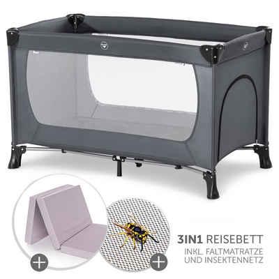 Hauck Baby-Reisebett »Dream'n Play Plus - Grey«, 3-tlg., inkl. Alvi Komfort Reisebett Matratze (schadstoffgeprüft, faltbar, 6 cm Höhe) und Insektenschutz