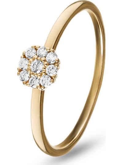 CHRIST Fingerring »CHRIST Damen-Damenring 585er Rotgold 9 Diamant«