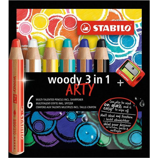 STABILO Buntstift woody 3 in 1 ARTY, 6 Farben, inkl. Anspitzer
