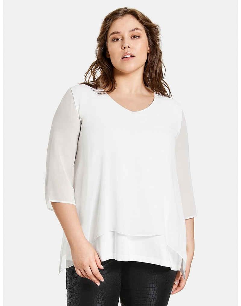 Samoon 3/4-Arm-Shirt »Blusenshirt im Layer-Look« (1-tlg)
