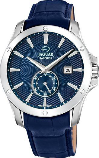 Jaguar Chronograph »UJ878/2 Jaguar Herren Armbanduhr ACM«, (Analoguhr), Herrenuhr rund, groß (ca. 44mm), Edelstahl, Lederarmband, Sport-Style
