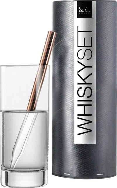 Eisch Whisky-Pipette »Gentelman« (Set, 2 Stück), Kristallglas, kupferbeschichtet, inkl. 1 Wasserglas, 190 ml