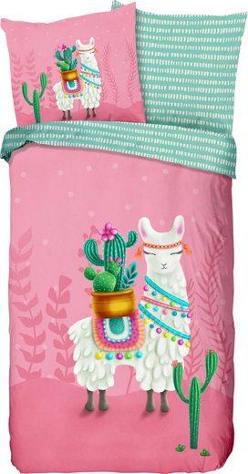Kinderbettwäsche »Lalama«, good morning, mit niedlichem Lama