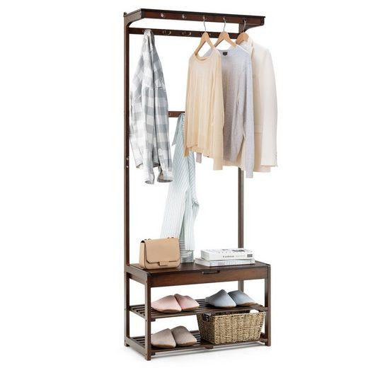 COSTWAY Garderobenständer »Kleiderständer Garderobe Flurgarderobe«, mit Sitzbank 3 Ebenen Schuhablage mit Stauraum, mit 10 Haken