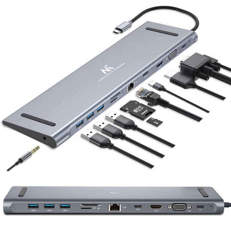 Maclean TV Systems »MCTV-850« USB-Adapter USB-C zu USB-C, USB 3.0, HDMI, VGA, RJ45, SD, TF, 3,5-mm-Klinke, 11 Schnittstellen in einem Gerät; Power-Delivery Ladefunktion