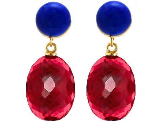 Gemshine Paar Ohrhänger »3 D Rote Quarz Ovale und Lapis Lazuli«, 925 Silber vergoldet