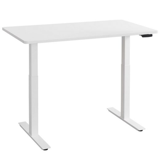 Balderia Schreibtisch, Höhenverstellbarer Schreibtisch Elektrisch - Verstellbares Tischgestell inkl. Tischplatte - Höhe 71-119 cm - Fläche 120 x 60 cm, Weiß