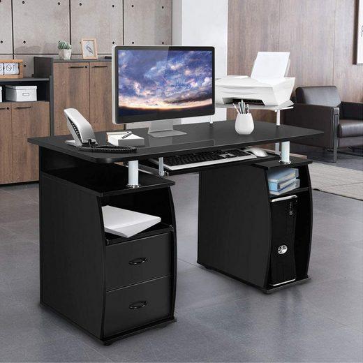 COSTWAY Computertisch »Computertisch«, Computertisch Schreibtisch Bürotisch Arbeitstisch PC-Tisch mit Tastaturauszug Druckerablage schwarz