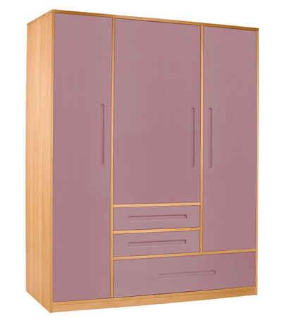 BioKinder - Das gesunde Kinderzimmer Kleiderschrank »Lina« 3-teilig mit 3 Schubladen, 2 flexiblen Kleiderstangen, 5 schmalen Einlegeböden und 1 breiten Einlegeboden