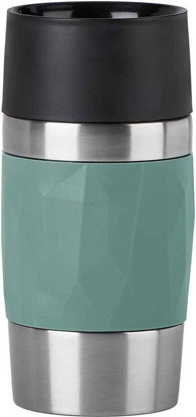 Emsa Thermobecher »Travel Mug Compact«, Edelstahl, Silikon, Kunststoff, Edelstahl, 300 ml Inhalt, auslaufsicher, 3h heiß 6h kalt, 360°-Rundum-Trinköffnung, spülmaschinenfest
