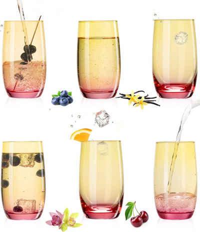 PLATINUX Glas »Trinkgläser«, Glas, Gelb-Rosa Bunt 300ml (max.370ml) Set 6 Stück Wassergläser Saftgläser Longdrinkgläser
