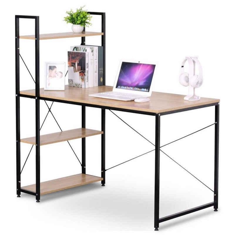 Woltu Schreibtisch »TSB01« (1-St), Computertisch Büromöbel PC Tisch Bürotisch Arbeitstisch aus Holz und Stahl, mit Ablagen