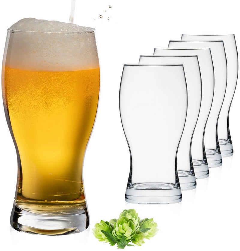 PLATINUX Bierglas »Biergläser«, Glas, 500ml (max. 650ml) Set 6-Teilig Bierseidel Dunkelbier Spülmaschinenfest