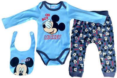 Disney Baby Shirt, Strampler, Jäckchen, Mütze & Schühchen »Mickey Mouse Oh Boy Disney Baby Jungen Body, Hose + Lätzchen Set Hellblau 3 6 12 18 24 Monate Gr.62 68 80 86 92 cm«