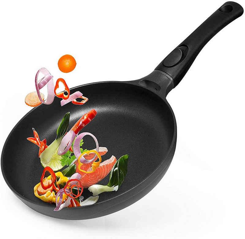 Gotoll Bratpfanne »GL52408«, Aluminium, Pfanne Grillpfanne Steakpfanne mit abnehmbarem Griff, Beschichtete Pan