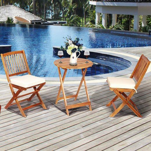COSTWAY Balkonset »Gartenmöbel-Set, Terrassenset, Garten Sitzgruppe«, (3-tlg), mit rundem Tisch & 2 Stühlen, für In & Outdoor