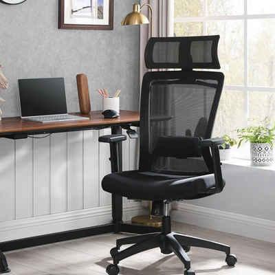 SONGMICS Chefsessel »OBN057B02«, Bürostuhl, Schreibtischstuhl, ergonomischer Drehstuhl mit Kleiderbügel, schwarz