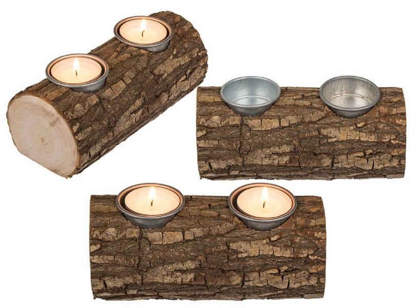 ReWu Teelichthalter mit Tablett »Holz-Teelichthalter Baumstamm für 2 Teelichter«, Aus Naturbelassenem Holz